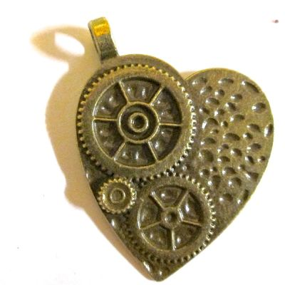 Bronze HEART Pendant/Charm with Gears.  Steampunk